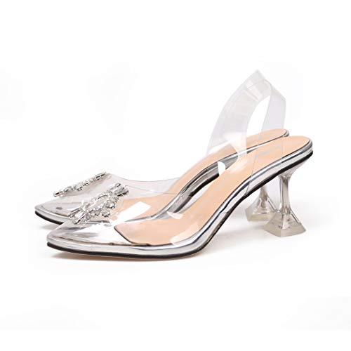Sandalias de mujer transparentes de tacón alto para la corte de los zapatos de PVC transparente deslizarse en el dedo del pie puntiagudo sexy zapatos de fiesta de boda, color, talla 38 EU