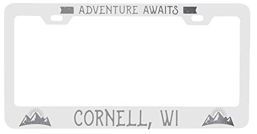 R and R Imports Cornell Wisconsin Laser Engraved Metal License Plate Frame Adventures Awaits Design