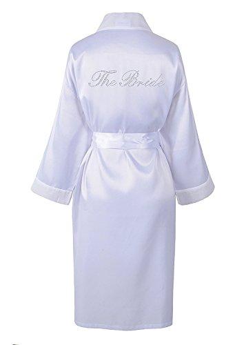 Albornoz de satén y estrás, personalizable, para el día de la boda, kimono para la novia, de Varsany Blanco L