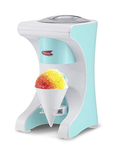 Elite Gourmet EIC-629 Electric Countertop Snow Cone Hawaiian Shave Ice Machine, Kid-Friendly Party Summer Treat Maker, Blue, Large, White