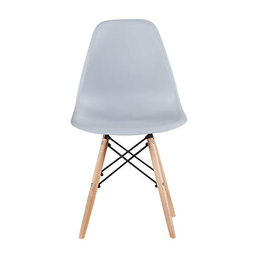 Conput Assembled Modern Minimalist Style Dining Chairs,Plastic Seat Wood Legs for Kitchen,Living Room and Dining Room,Inside Chair Set of 1 (Light Gray)