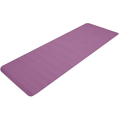 XYQS Esterilla de yoga, antideslizante de 0,6 cm de grosor, con correa de transporte, esterilla de fitness, unisex, para ejercicio, yoga, pilates, (morado oscuro) (color: morado oscuro)