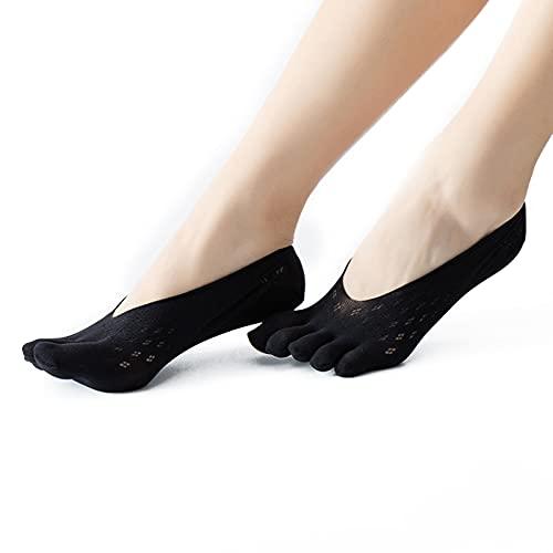 Calcetines de punta invisible de la boca poco profunda calcetines de encaje de malla de encaje calcetines de cinco dedos transpirable color puro todo partido