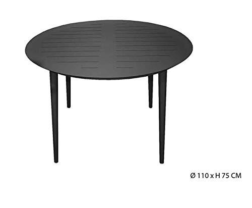 PEGANE Table Ronde en Aluminium Coloris Anthracite - D.110 X H75 cm