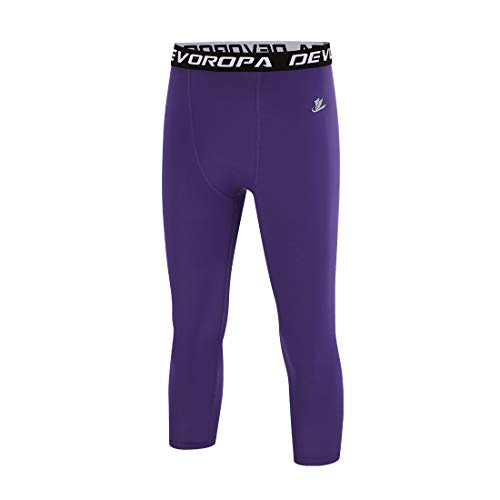 Devoropa Youth Boys Compression Pants 3/4 Length Sports Tights Leggings Soccer Basketball Base Layer Purple S