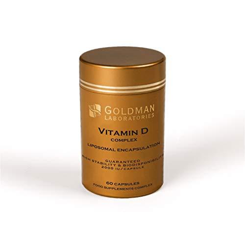 Vitamine D Complexe Liposomale Goldman Laboratories - 2000 IU - Complexe Breveté Vitamine D3 K2MK7 C - Biodisponibilité Maximale - Immunité, Os, Dents, Articulations, Bonne Humeur - Action Prolongée