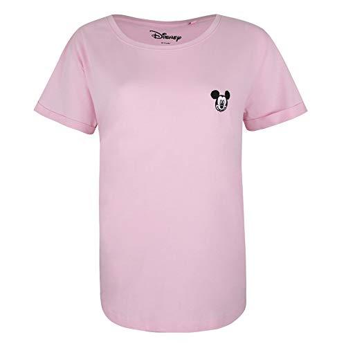 Disney Mickey Face EMB T-Shirt, Rose (Light Pink Ltp), S Femme