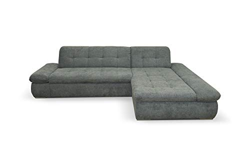 Domo Collection Ecksofa Moric / Eckcouch mit Bett / Sofa mit Schlaffunktion in L-Form Couch mit Armlehnfunktion/ 300x172x80 cm / Schlafsofa in Grau