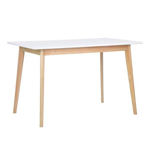 Mesa de comedor diseño Moderno Forma Rectangular Superficie de MDF patas de madera de Pino tamaño 120x 70x 75cm, Color blanco