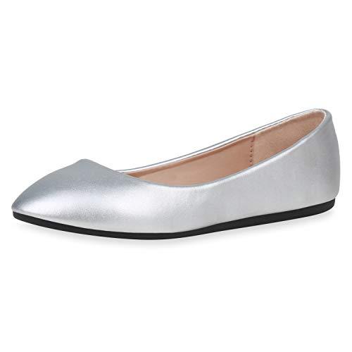 SCARPE VITA Damen Klassische Ballerinas Leder-Optik Schuhe Slipper Freizeitschuhe Slip On Flats Flache Abendschuhe 188408 Silber Metallic 37