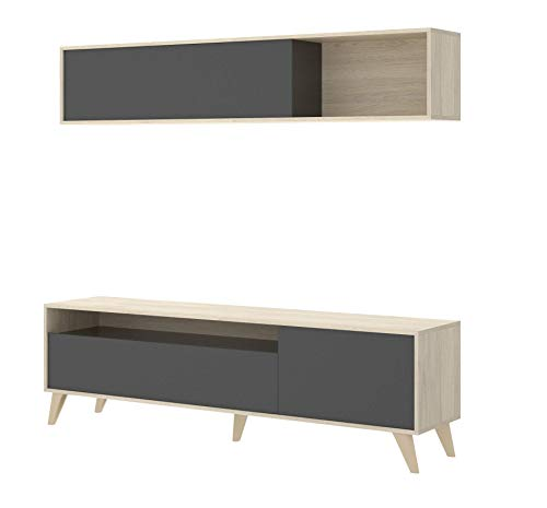 Mobelcenter - Mueble de salón Comedor, módulo TV + Estante, Color Natural y Grafito, Medidas: 180x51x41 cm de Fondo - (1055)