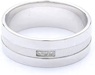Breuning 18K White Matte & Shiny Finish 0.017ct Round cut Diamond Wedding Ring [BR7095]