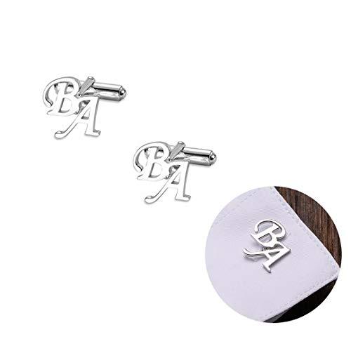 Gemelli personalizzati per uomo, gemelli in argento 925 con iniziali personalizzate con incisione personalizzata Gemelli classici da uomo in acciaio inossidabile Gemelli con lettere dell'alfabeto