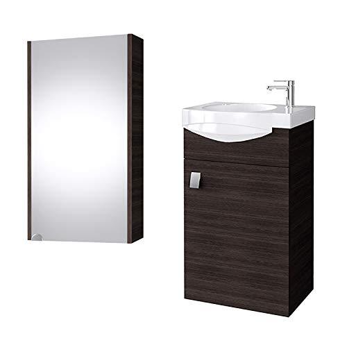 Planetmöbel Badmöbel Set Gäste WC Waschtischunterschrank Keramikwaschbecken Spiegelschrank Wenge