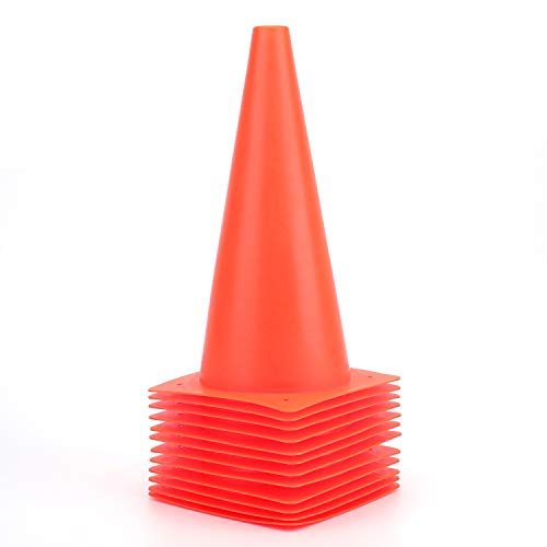 12 Inch Orange Traffic Training Cones, Plastic Safety Parking Cones, Agility Field Marker Cones for Soccer Basketball Football Drills Training, Outdoor Sport Activity & Festive Events - 12 Pack