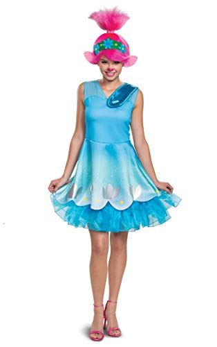 Disguise Troll's World Tour Classic Adult Costume Dress, Blue, Medium (8-10)
