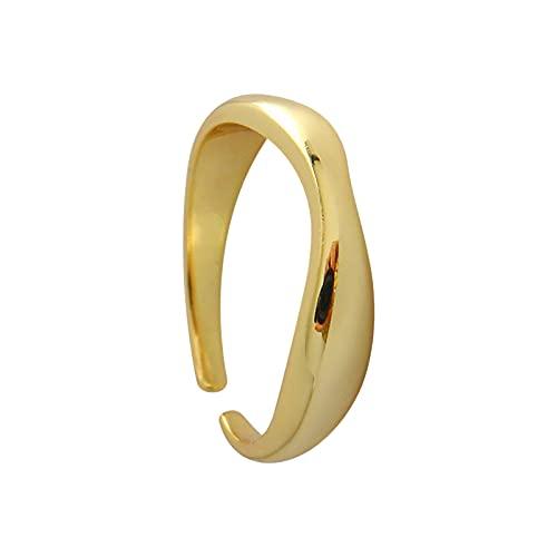 minjiSF Anillo abierto con patrón de ondas para mujeres y hombres, irregular y creativo, joyería de moda, anillo ajustable, anillo de compromiso, minimalista, joyas de viento frío (plata)