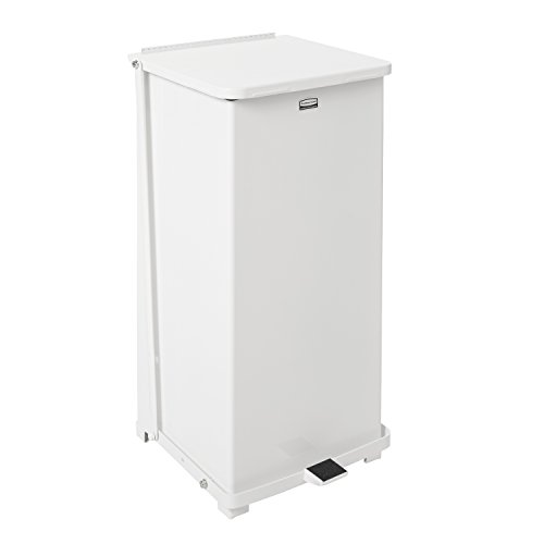 Rubbermaid Commercial ST24EPLWH Defenders Biohazard Step Can, Square, Steel, 24gal, White