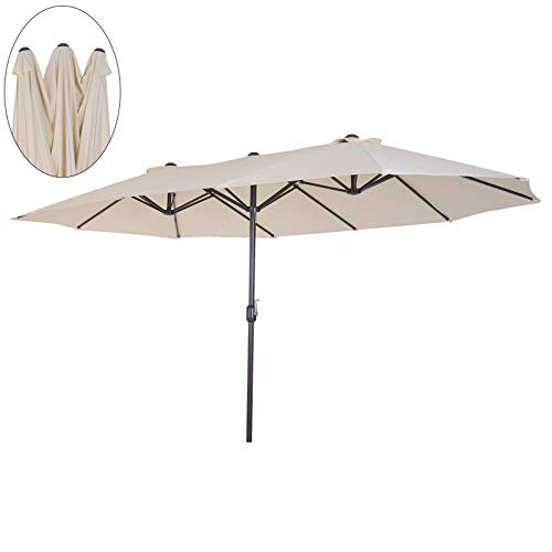Outsunny Sonnenschirm Gartenschirm Marktschirm Doppelsonnenschirm Terrassenschirm mit Handkurbel Oval Metall + Polyester Cremeweiß 460 x 270 x 240 cm