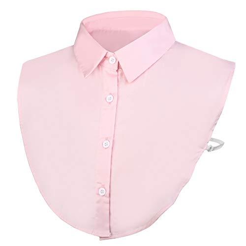 Wearlizer Frauen Kragen Abnehmbare Hälfte Shirt Bluse In Baumwolle Weiß/Schwarz/Jeans (Rosa)