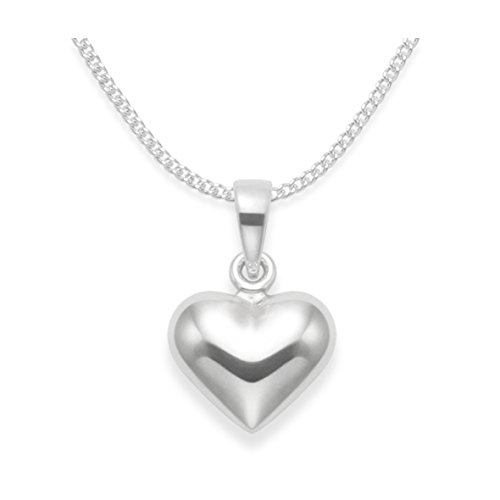 Heather Needham Children's Sterling Silver Heart Necklace on 14' (35cm) Silver Chain - Double Sided - Size: Tiny 10mm x 8mm. Gift Boxed. 8178/14