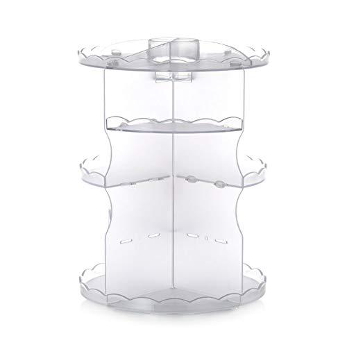 WANGIRL Tragbare 360 Grad Make up Organizer Drehbarer Wellig Partition Einstellbar Kosmetische Acryl Kristallklar für Schmuck Make-up-Pinsel Lippenstifte und Cremes Aufbewahrungskiste (Color : 4)