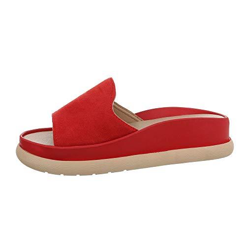 Ital-Design Damenschuhe Sandalen & Sandaletten Pantoletten Synthetik Rot Gr. 39