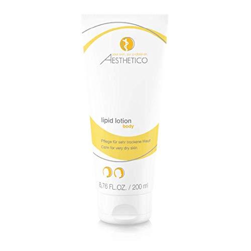AESTHETICO lipid lotion - Intensiv rückfettende Körperlotion für trockene Haut, auch bei Neurodermitis, mit inkorporiertem Feuchthalter Urea und natürlichen Ölen, stoppt Austrocknung gezielt, 200 ml