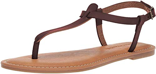 Amazon Essentials Women's Casual Thong with Ankle Strap Sandal, Brown, 8 B US