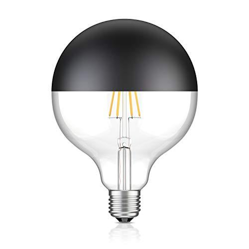 ledscom.de E27 LED Filament Lampe Kopfspiegel schwarz matt G125 (12,5cm Durchmesser) 7W =52W warm-weiß 660lm A++