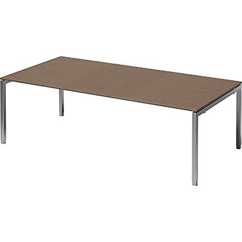 BISLEY Cito Chefarbeitsplatz/Konferenztisch, 650-850 mm höheneinstellbares U, H 19 x B 2400 x T 1200 mm, Metall, Wn355 Dekor Nußbaum, Gestell...