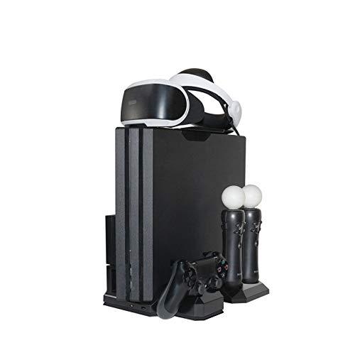 SANLAIHGJY Soporte Vertical PS4 / Pro/Slim/PS VR/PS Move + Enfriador de Ventilador de refrigeración + Base de Carga del Controlador para Accesorios de Juegos PS 4