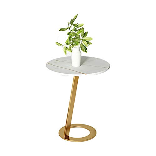 Side Table, Round Shape Marble Coffee Tables Creativity Bedside Bedside Tables Balcony Patio Small Dining Tables 40 * 55CM(Size:40 * 40 * 55CM,Color:Gold)
