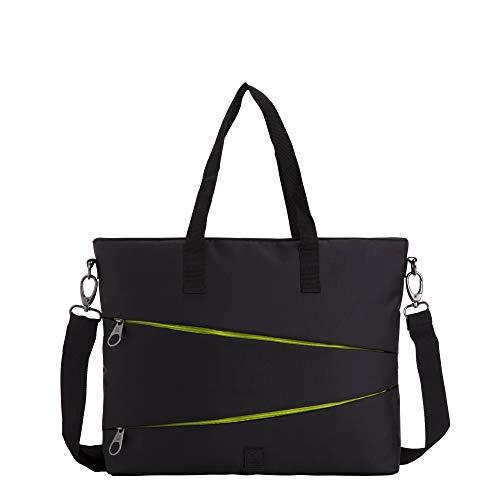 CARPISA - Bolso de negocios para mujer - GO CITY 3 - Bolso tote de trabajo con correa ajustable - Color liso con detalles de colores - Dimensiones: 37 x 30 x 8 cm - Negro Talla única