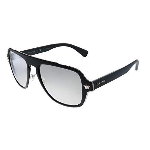 Versace Medusa Charm VE 2199 10006G Matte Black Plastic Aviator Sunglasses Silver Mirror Lens
