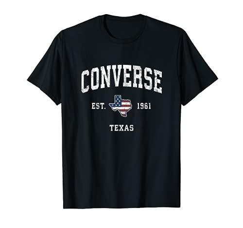 Converse Texas TX Vintage Bandiera Americana Sport Design Maglietta