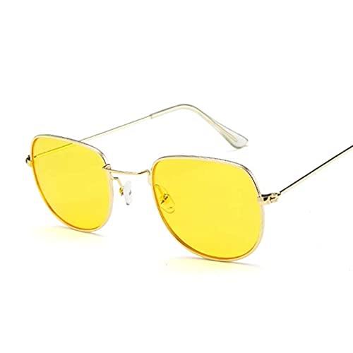 PPCLU Ocean Amarillo Oval Gafas de Sol Mujeres Diseñador Espejo Retro Damas Lujo Pequeñas Gafas de Sol Rosa para Mujer (Lenses Color : Gold Yellow)