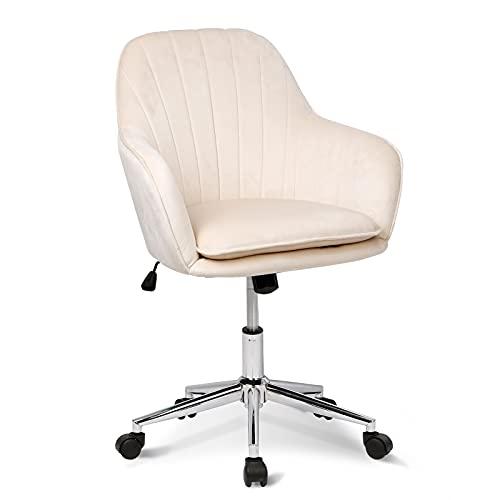 Chaise de bureau Fauteuil Pivotant Confortable, Réglable en Hauteur Tissu en Velours, Style Scandinave pour Bureau Salle d'étude Salle à Manger, Beige