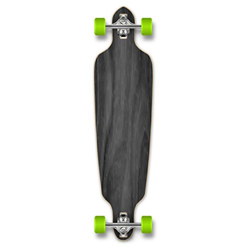 Yocaher Blank (Black) Complete Drop Through Skateboards Longboard w/Black Widow Premium 80A Grip Tape Aluminum Truck ABEC7 Bearing 70mm Skateboard Wheels Stained Color