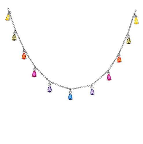 DARK DIAMOND - Collar con circonitas de colores en forma de lágrimas en plata de ley 925 bañado rodio o en oro de 18K. (Plata)