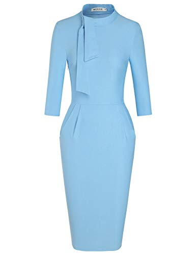 MUXXN Womens Pure Gorgeous Tie Collar Package Hip Ladies Cute Pencil Dress (Airy Blue L)