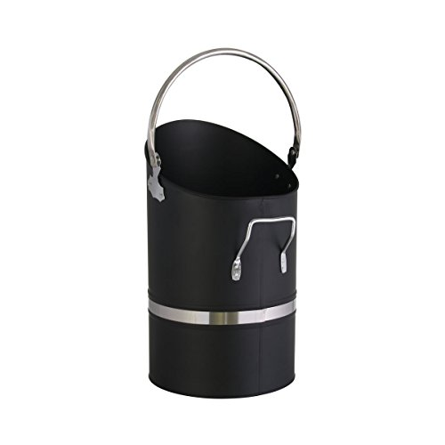 Kamino-Flam 122318–Cubo Hierro de carbón con asa y asa abatible de carbón pluma alrededor de pelletsc hütter para carbón/pellets, Negro