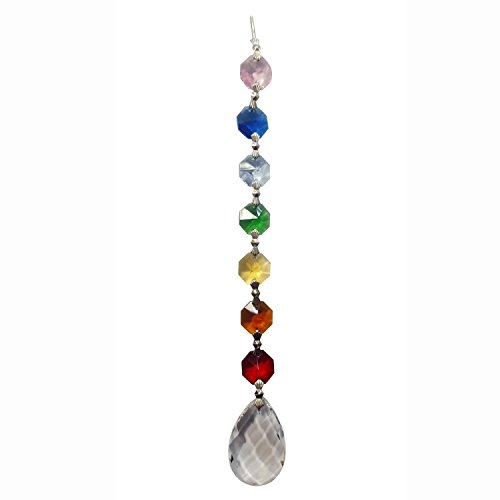 Find Something Different Etwas Finden Verschiedene Amrita Chakra Crystal mit 20cm Lichterkette Tropfen mit Geschenk-Box, Bambus, Mehrfarbig