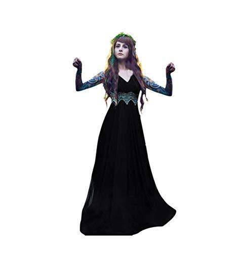 HEVÜY Kleider Damen Gothic Steampunk Mittelalter Langarm Elegant Mit Kapuze Kleid Bodenlangen Cosplay