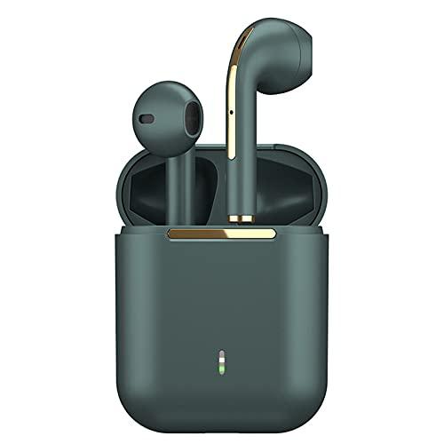 ZEIYUQI TWS Auriculares Bluetooth V5.0 Mini Auriculares Estéreo Inalámbricos Reales a Prueba de Agua para Android iOS Juegos Auriculares Deportivos,Green
