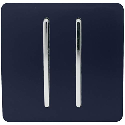 Trendi - Interruptor de luz táctil de 1 vía, artístico, moderno, brillante, 10 amperios, color azul marino