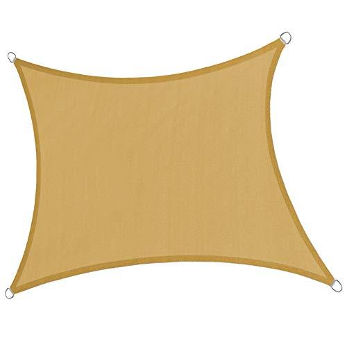 LOVE STORY 8' x 12' Rectangle Sand Sun Shade Sail Canopy UV Block Awning for Outdoor Patio Garden Backyard