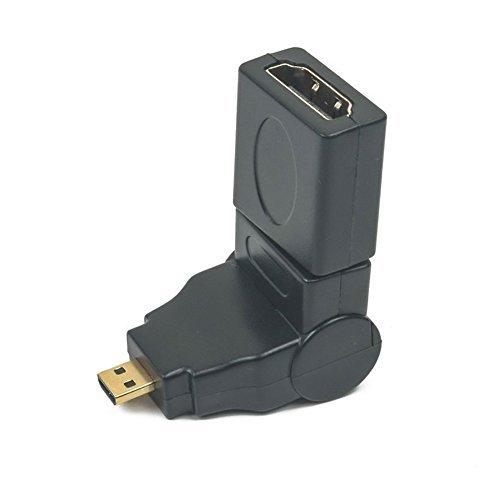 Micro HDMI Hembra a Macho Adaptador de Rotación 360 Grad Angulo Compatible con Nikon COOLPIX AW110 AW120 AW130 L620 L820 L830 L840 S02 S32 S33 S6500 S6600 | Canon PowerShot G7 X, G9 X, IXUS 285 HS