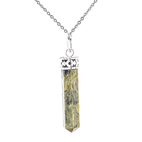 ARITZI - Colgante Delicado de bisutería de Metal con Punta en Piedra Natural - Incluye una Cadena de eslabones de 50 cm en Acero Inoxidable - Serpentina