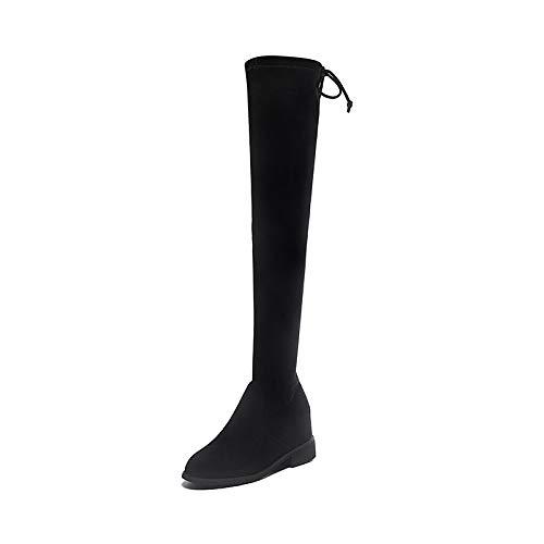 Shukun enkellaarsjes over de knielaarzen vrouwelijke platte onderkant herfst en winter stretch slanke lange laarzen dikke studenten hoge laarzen